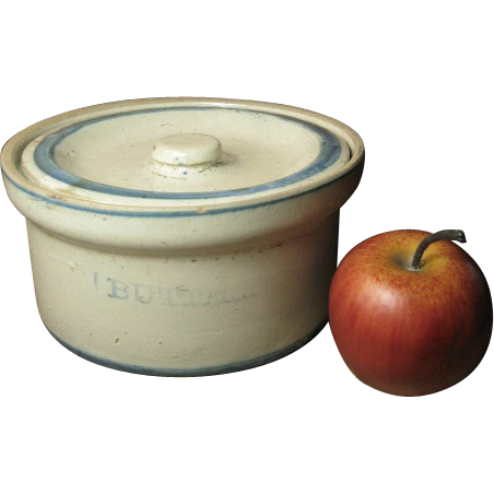 Great Grandma's Old Farmhouse Kitchen Stoneware Butter Crock w. Lid – Blue and White