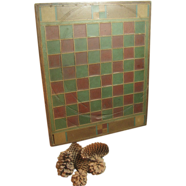 Stunning All Original Old Antique Hand Made Slate Tiled and Wood Folk Art Game Board