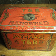 Grandpa's Old Vintage T and B Renowned Myrtle Cut Tobacco Advertising Tin – Hinged Lid – Graphics
