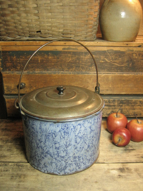 Grandma's Awesome Old Large Sized Smokey Blue Swirl Graniteware Berry Pail