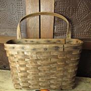 Grandma's Wonderful Old Wooden Wall Basket w. Handle