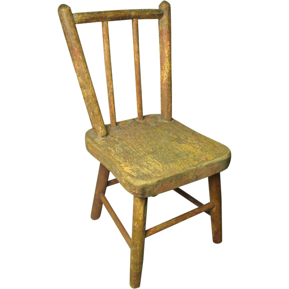 Charming Little Old Early Wooden Painted Doll Chair