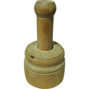 Beautiful Early Old Mini Wooden Butter Press - Strawberry and Fern Design