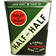 Half and Half Pipe Tobacco Pocket Tin - Burley and Bright Advertising