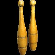 Wonderful Pair of Old Tall Wooden Juggling Pins - Patina