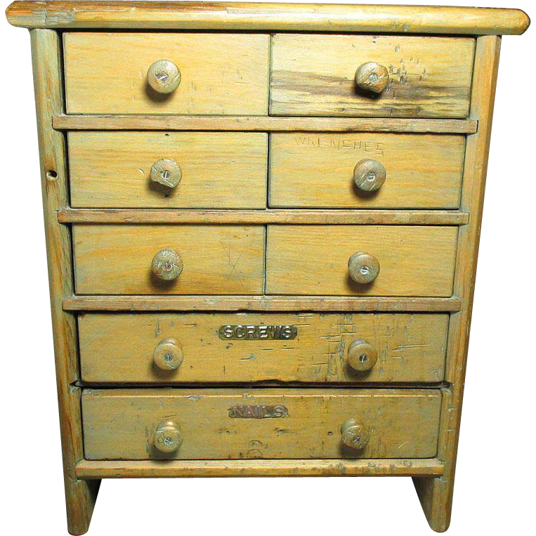 Wonderful Large Old Antique 8 Drawer Wooden Apothecary Tool Cabinet