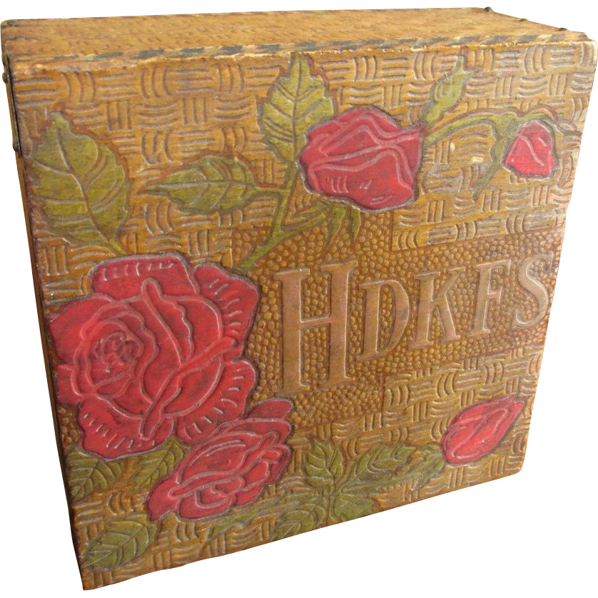 Old Vintage Wood Burned Pyrography Hankie Handkerchief Box - Hinged Lid