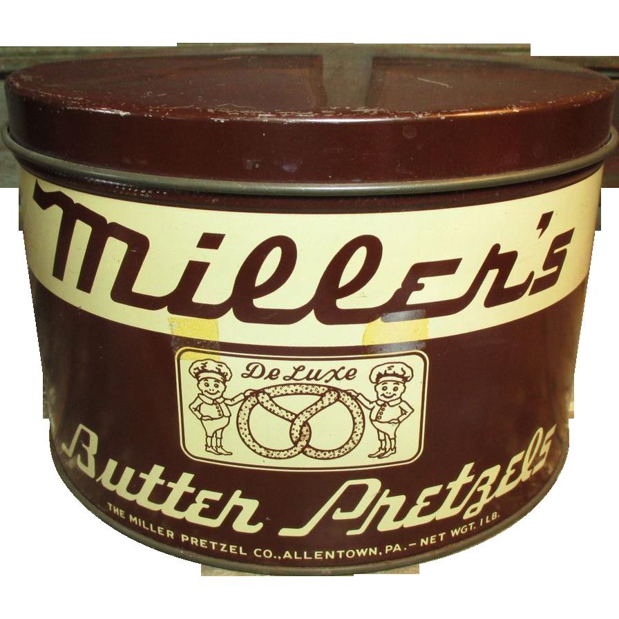 Old Vintage MILLER'S Butter Pretzels Tin - Allentown, PA.