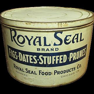 Large Old Vintage ROYAL SEAL Fig-Date-Stuffed Prune General Store Advertising Tin