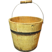 Granny's Little Old Wooden Farm Bucket Pail w. Bail Handle, Yellow Paint