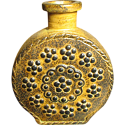 Granny's Small Embossed Pottery Decorative Butterscotch Brown Flask