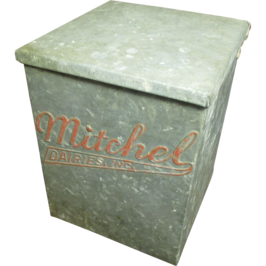 cool old vintage galvanized metal milk box mitchel dairies inc sold on ruby lane. Black Bedroom Furniture Sets. Home Design Ideas