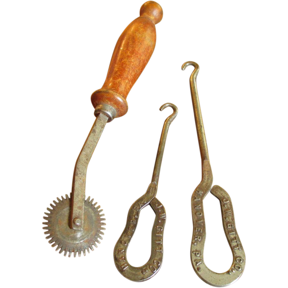 2 Button Hooks & Seam Roller From Granny's Collection - Advertising - Germany and PA.