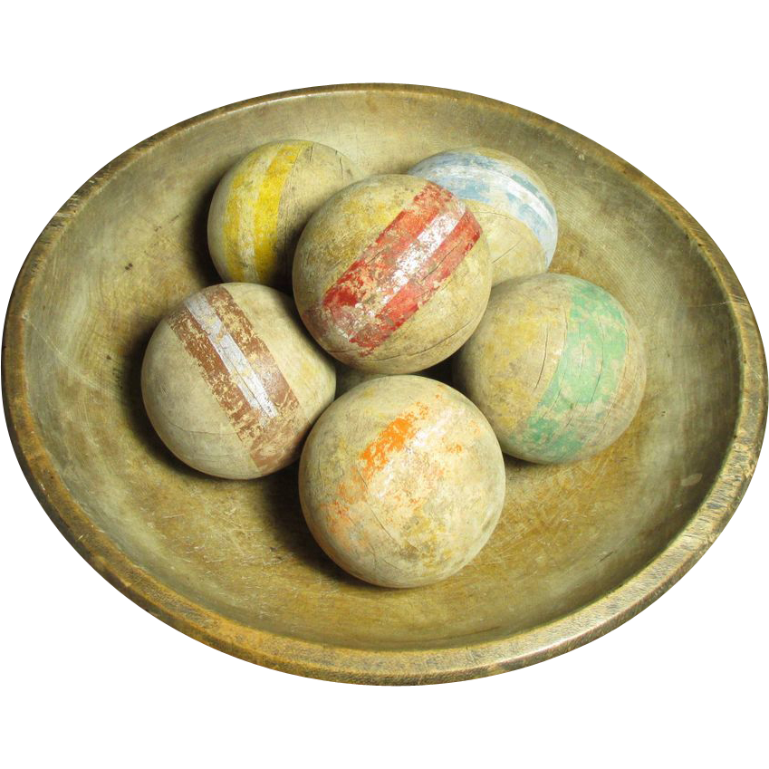 Grandpa's Early Old Set of Six Croquet Balls w. Worn Old ...