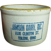 Old Vintage Stoneware Butter Crock - JAMISON DAIRY - Ohio Cobalt Advertising