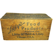 Early Old LIBBY'S Food Products Wooden Advertising Crate Box w. Lid