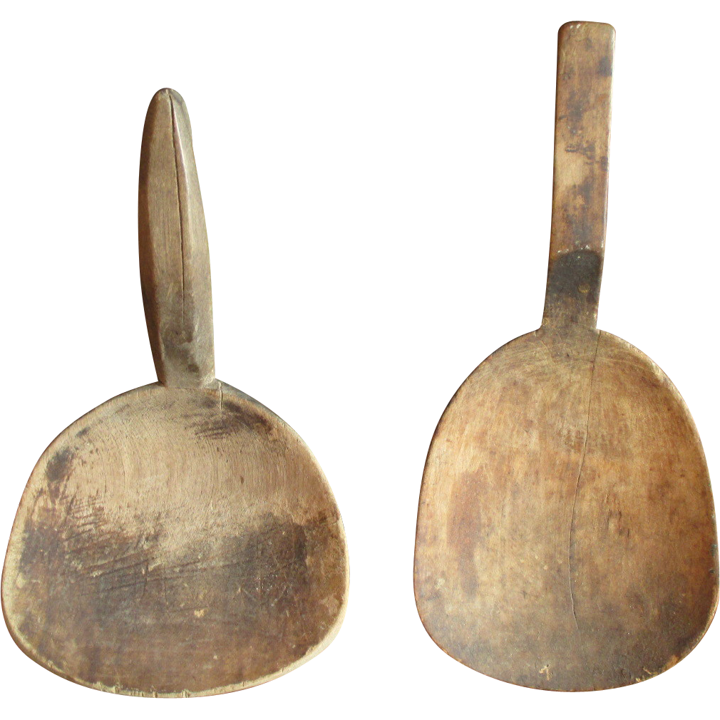 Grandma's Old Primitive Farmhouse Kitchen Pair of Wooden Butter Paddles - Set #1