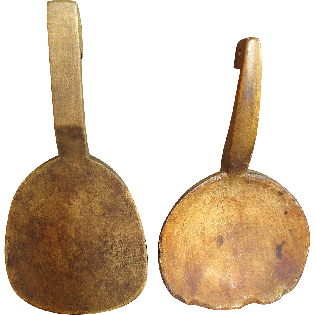 Grandma's Old Primitive Farmhouse Kitchen Pair of Wooden Butter Paddles - Set #3