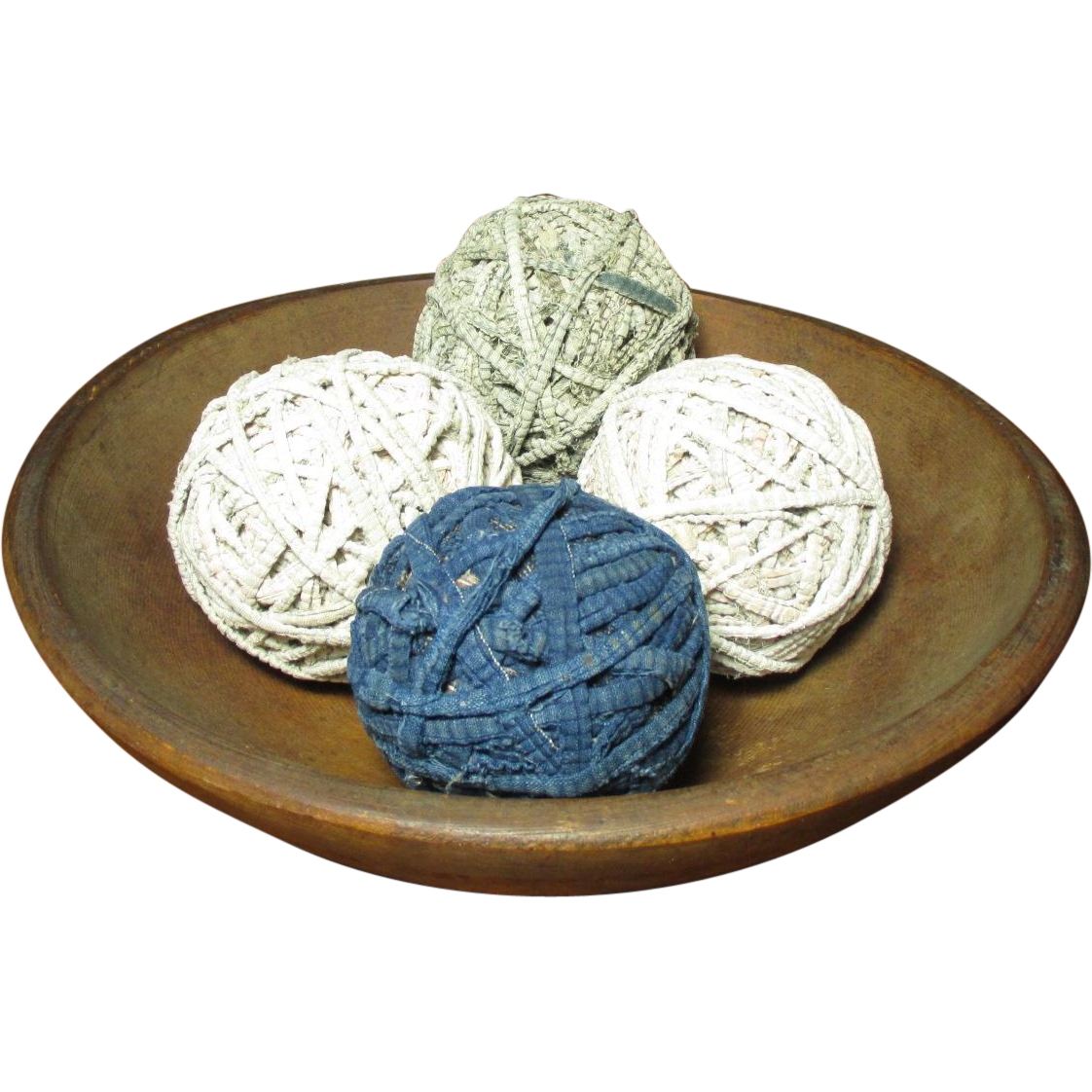 Set of Four Old Vintage Rag Balls