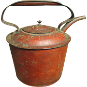 Grandma's Favorite Little Old Metal Tea Pot Kettle - Best Old Red Paint