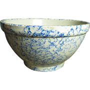 Granny's Sweet Old Small Sized Blue and White Spongeware Stoneware Mixing Bowl