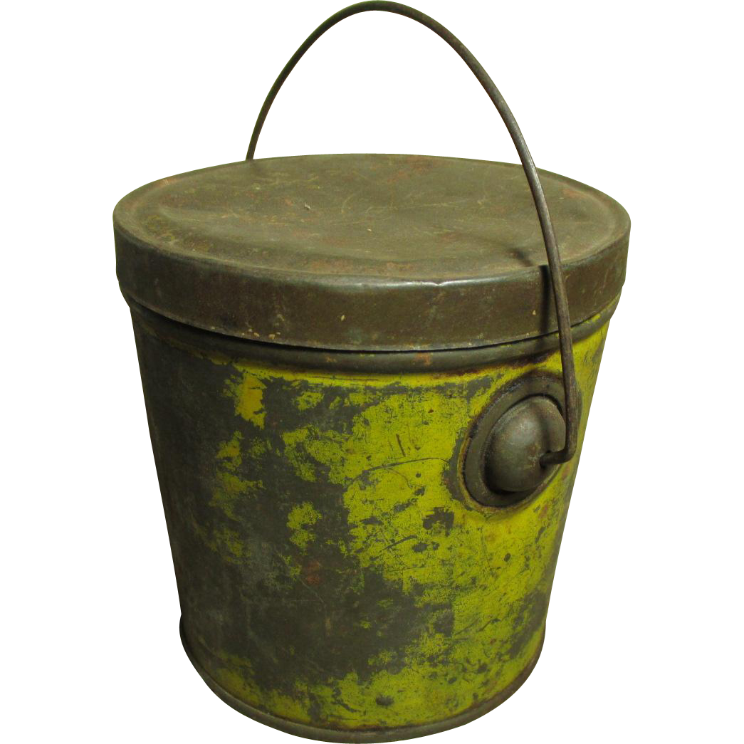 Early Old Small Sized Tin Pail w. Handle - Mustard Paint