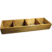 Early Old Primitive Wooden Canted Sectioned Farmhouse Pine Box - Square Nails