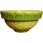 Granny's Favorite Early Old Farmhouse Kitchen Green Shaded Yellowware Mixing Bowl