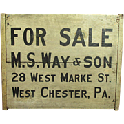 Outstanding Early Antique Wooden Double-Sided FOR SALE/FOR RENT Sign - Pennsylvania - Gray Paint