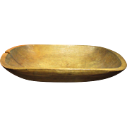 Granny's Early Old Farmhouse Kitchen Wooden Trencher Dough Bowl - Awesome Patina