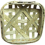 """Great Grandpa's Smallest Old Tobacco Basket - Only 10"""" Square"""