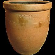 Fabulous Early Old Redware Crock Jar - John Bell - Waynesboro