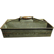 Grandma's Early Old Metalware Farm Tote w. Wooden Handle & Tole