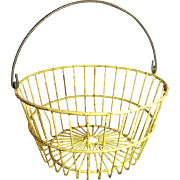 Grandma's Large Old Metal Farm Barn Basket - Old Mustard Yellow Paint