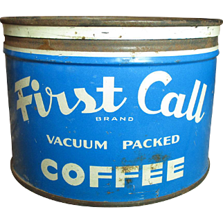 "Old Vintage ""First Call"" Coffee Tin - Blue and White"