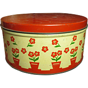 Old Vintage Retro Cookie Tin - Red and Cream - F.F.V., Richmond, Virginia