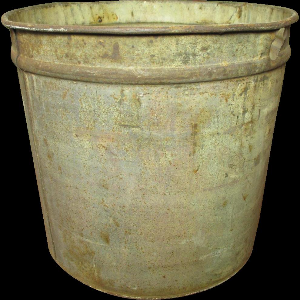 Great Old Vintage Metal Maple Syrup Sap Bucket