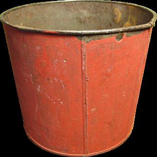 Grandma's Wonderful Old Vintage Metal Maple Syrup Sap Bucket - Old Red Paint