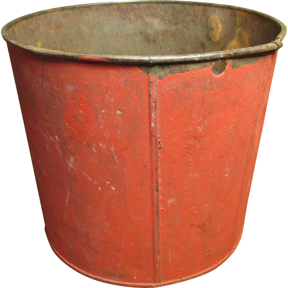 Grandma's Wonderful Old Vintage Metal Maple Syrup Sap Bucket - Old Red Paint