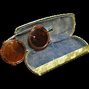 Cool Vintage Clip On Round John Lennon Tortoiseshell Sunglasses w/ Case