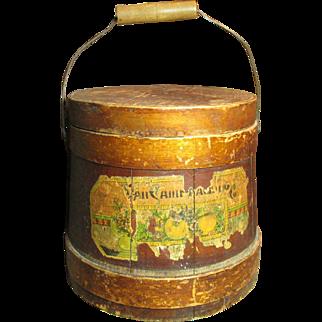 Fabulous Early Old Antique Wooden Firkin Sugar Bucket - Paper Label Remnants