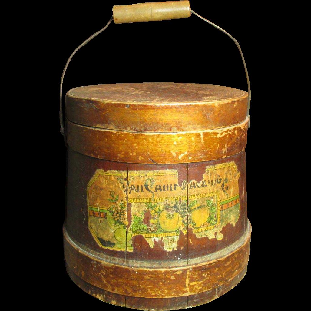 Fabulous Early Old Antique Wooden Firkin Sugar Bucket