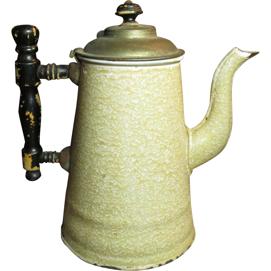 Uncommon Early Old Brown Sponge Mottled Graniteware Coffee Pot