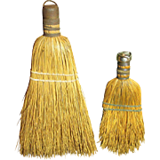 Grandma's Pair of Old Vintage Farm Kitchen Whisk Brooms