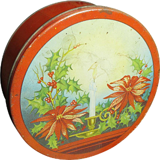 Cool Old Vintage RED Christmas Cookie Tin - Poinsettias