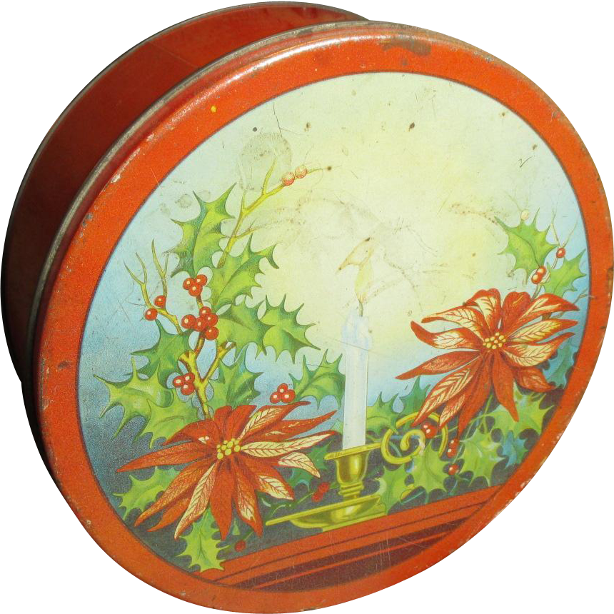 Cool Old Vintage RED Christmas Cookie Tin