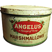 Old Vintage ANGELUS Marshmallow Tin - 5 Lb. Size