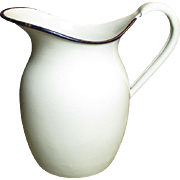 Lovely Old Farmhouse Kitchen White Enamelware Milk Pitcher