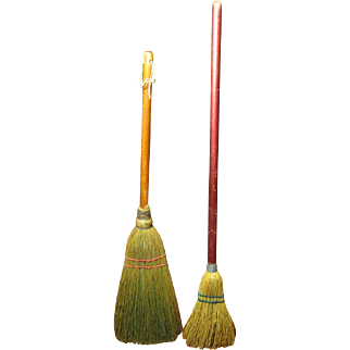 """Two Charming Old Small Brooms - One Hearth Broom and One Child's Broom """"Just Like Mom's"""" - Keene, TX"""