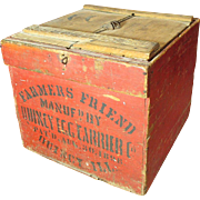 Wonderful Early Old Antique FARMER'S FRIEND Wooden Egg Crate Box - Old Red Paint - Quincy IL & Sharon, NY